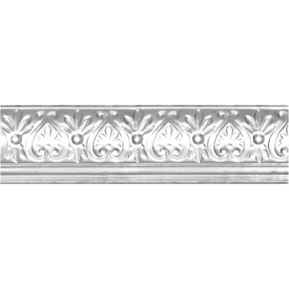 Chrome Plated Steel Cornice 6.25  Inches  Projection x 6 5/8  Inches  Deep x 4 Feet Long