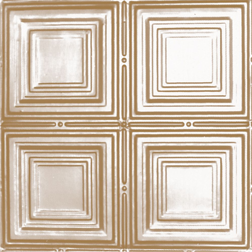 2 Feet x 4 Feet Brass Plated Steel Nail-Up Ceiling Tile Design Repeat Every 12 Inches