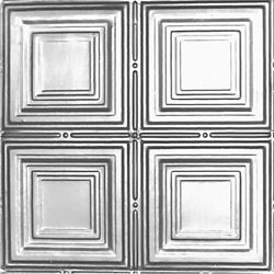 Shanko 2 Feet x 4 Feet Steel Silver Nail-Up Ceiling Tile Design Repeat Every 12 Inches