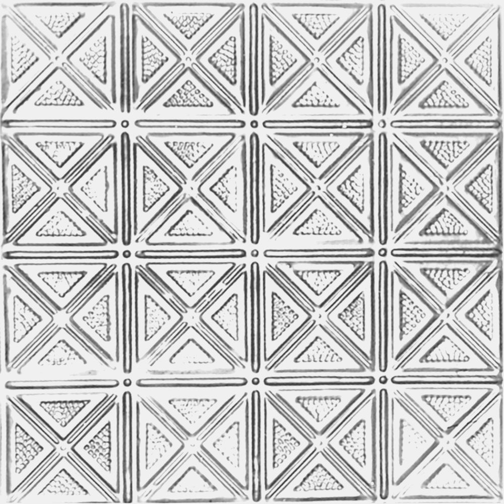 2 Feet x 2 Feet Chrome Plated Steel Lay-In Ceiling Tile Design Repeat Every 6 Inches