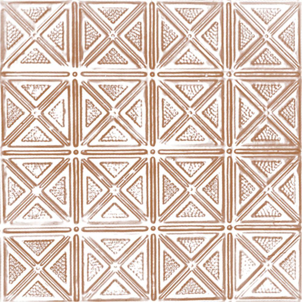 Carreau de plafond en acier plaqué cuivre à motif répété aux 6 pouces et installation encastrée 2...