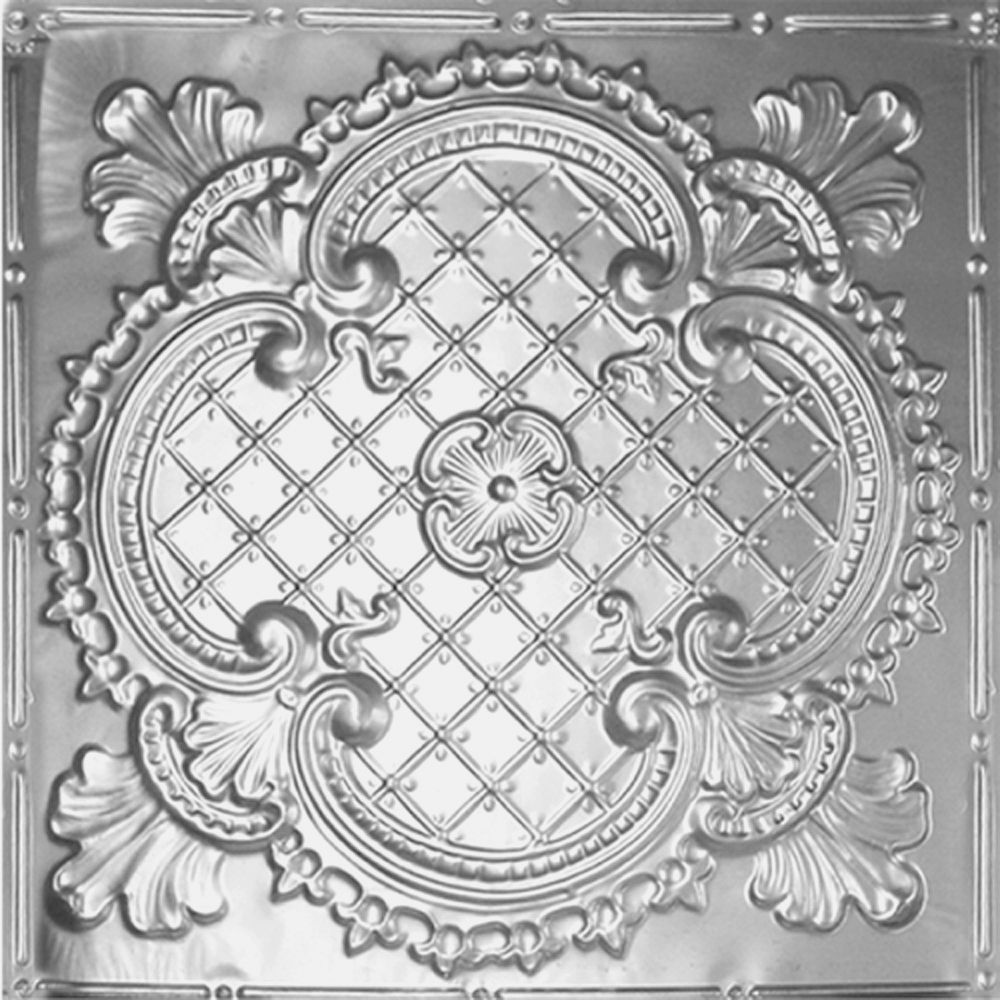 2 Feet x 4 Feet Steel Silver Nail-Up Ceiling Tile Design Repeat Every 24 Inches