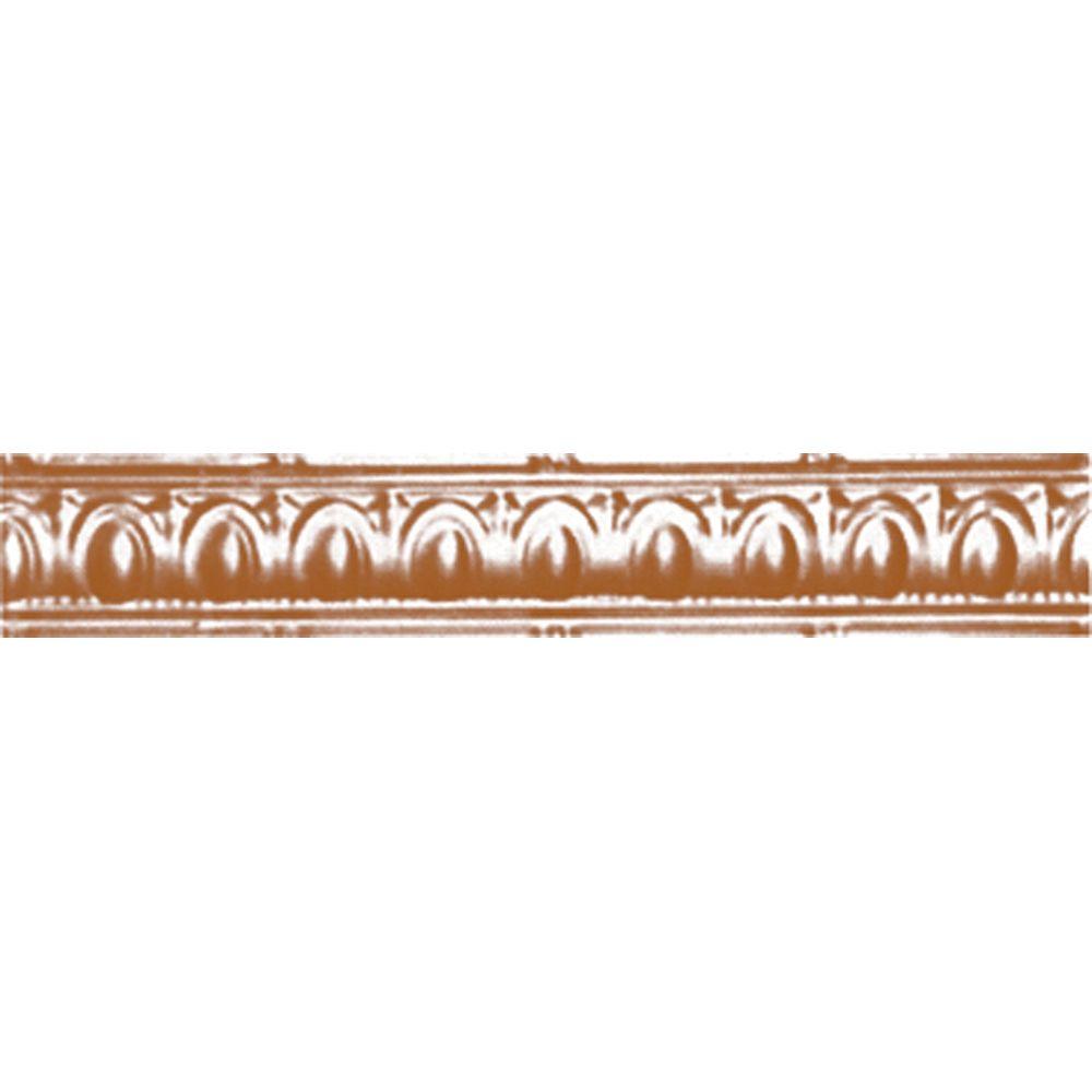 Corniche en acier plaqué cuivre, 3,5po en saillie x 3,5po profondeur x 4pi longueur