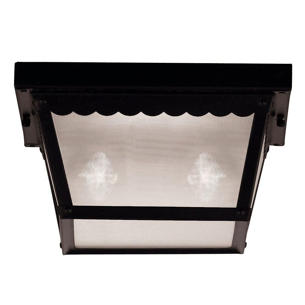 Satin 2 Light Black Incandescent Outdoor Flush Mount With Frosted Glass