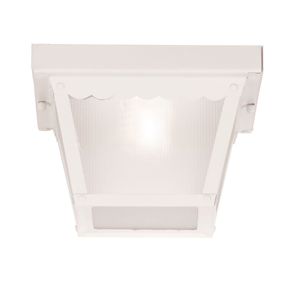 Satin 1-Light White Outdoor Flush Mount with Frosted Glass