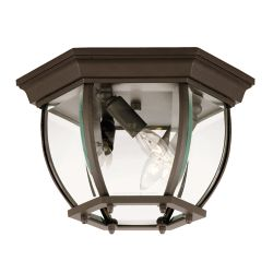 Illumine Satin 3 Light Bronze Halogen Outdoor Flush Mount With Clear Glass