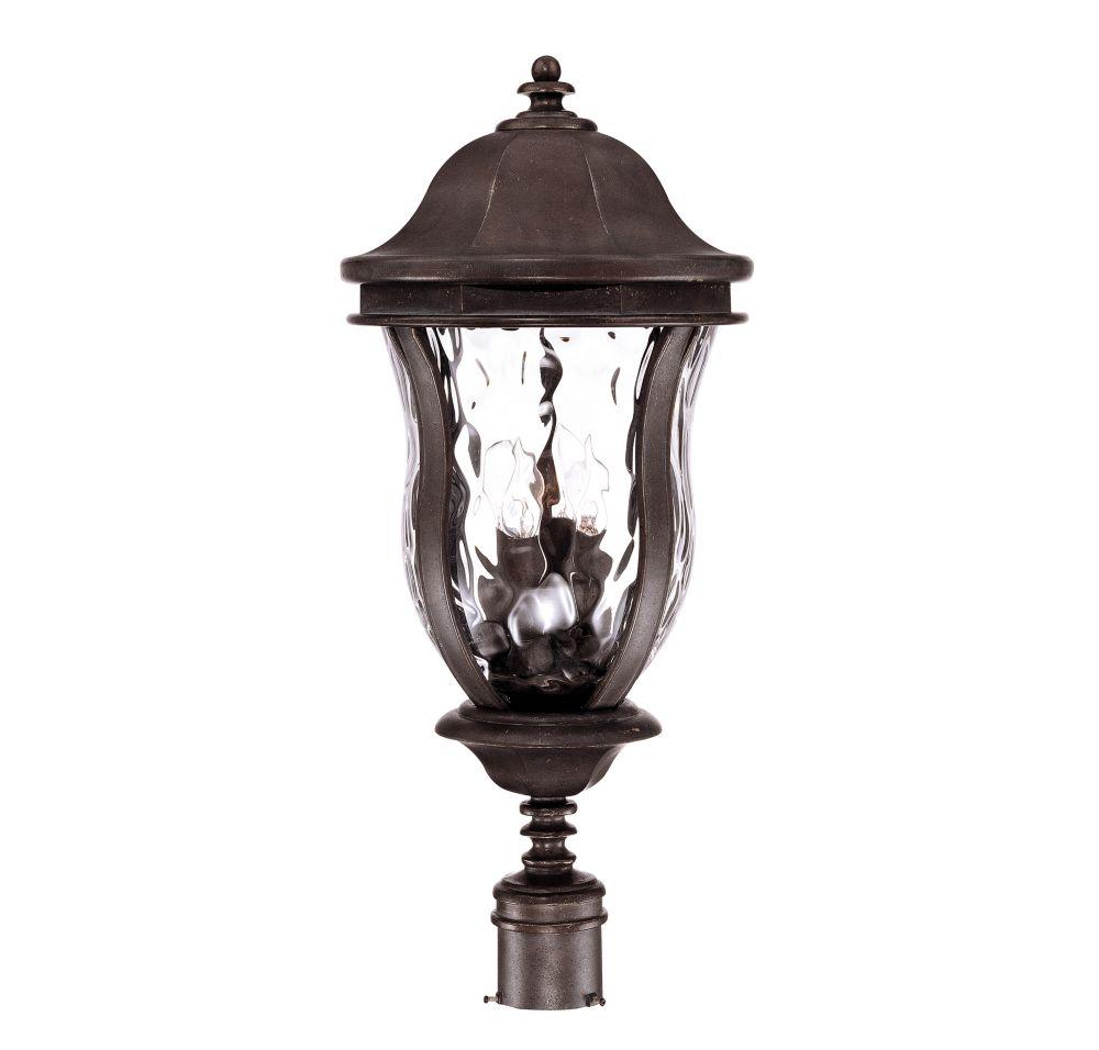 Satin 4 Light Bronze Halogen Outdoor Post Lantern With Clear Glass