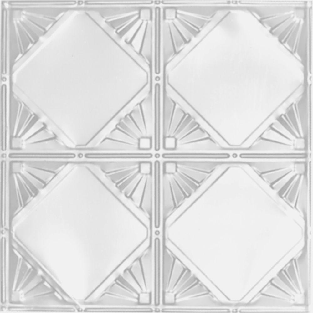 Carreau de plafond en acier blanchi à motif répété aux 12 pouces et installation clouée 2 pi x 4 ...