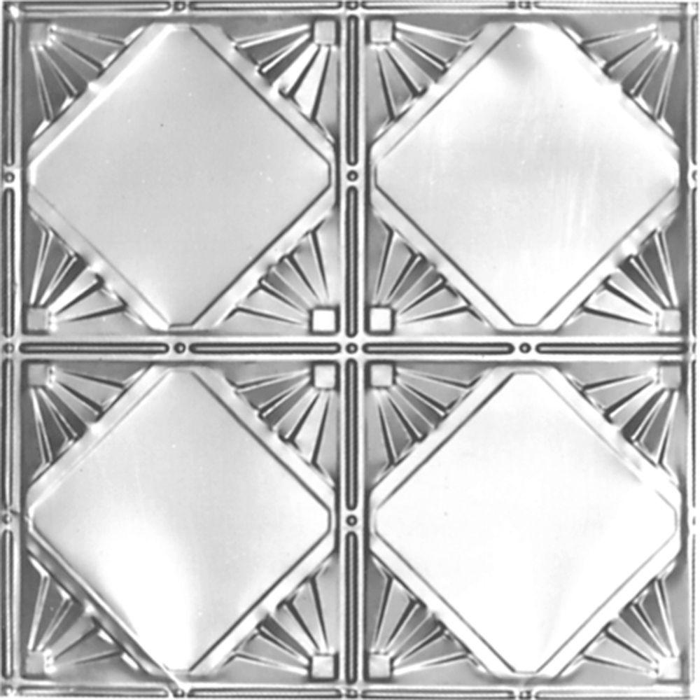 Carreau de plafond en acier argenté à motif répété aux 12 pouces et installation clouée 2 pi x 4 ...