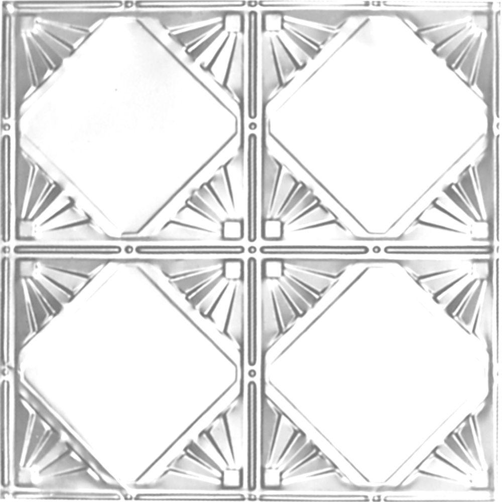 Carreau de plafond en acier plaqué chrome à motif répété aux 12 pouces et installation clouée 2p...