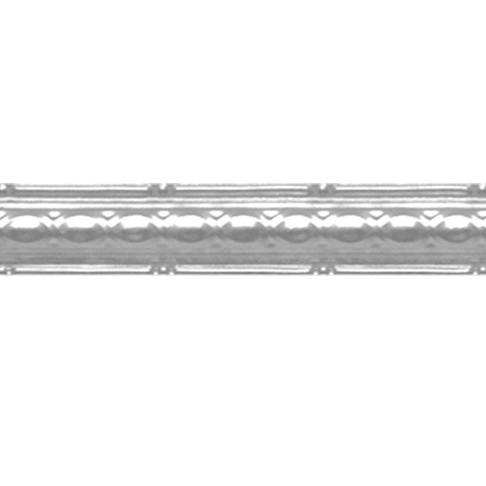 Corniche en acier plaqué chrome, 2,5 po en saillie x 4pi longueur