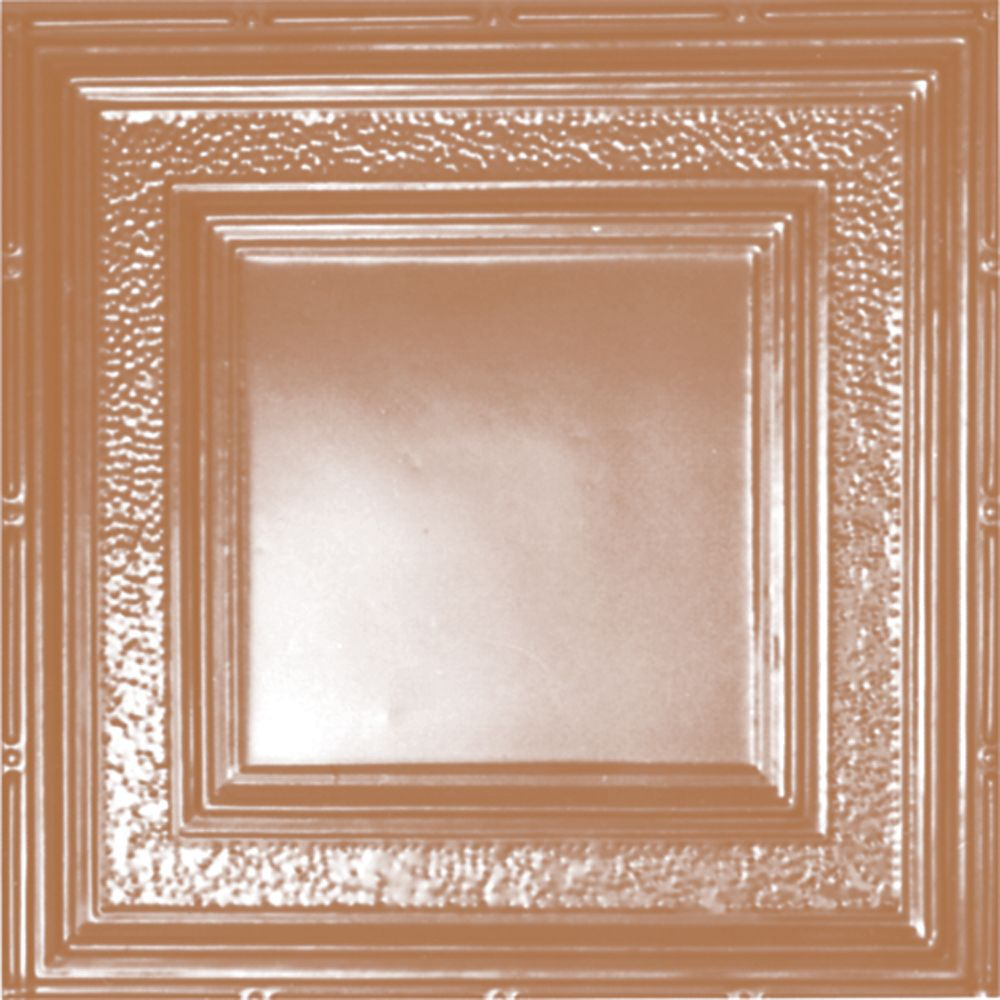 2 Feet x 4 Feet Copper Plated Steel Finish Nail-Up Ceiling Tile Design Repeat Every 24 Inches