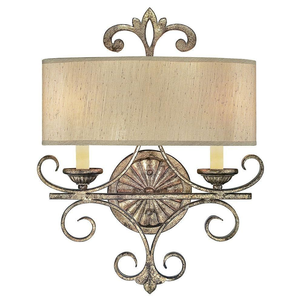 Satin 2-Light Silver Wall Sconce with Cream Shantung Glass