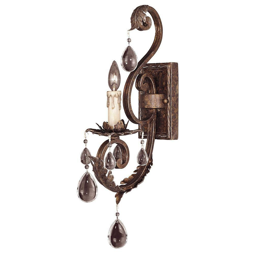 Satin 1-Light Bronze Wall Sconce with Clear Glass