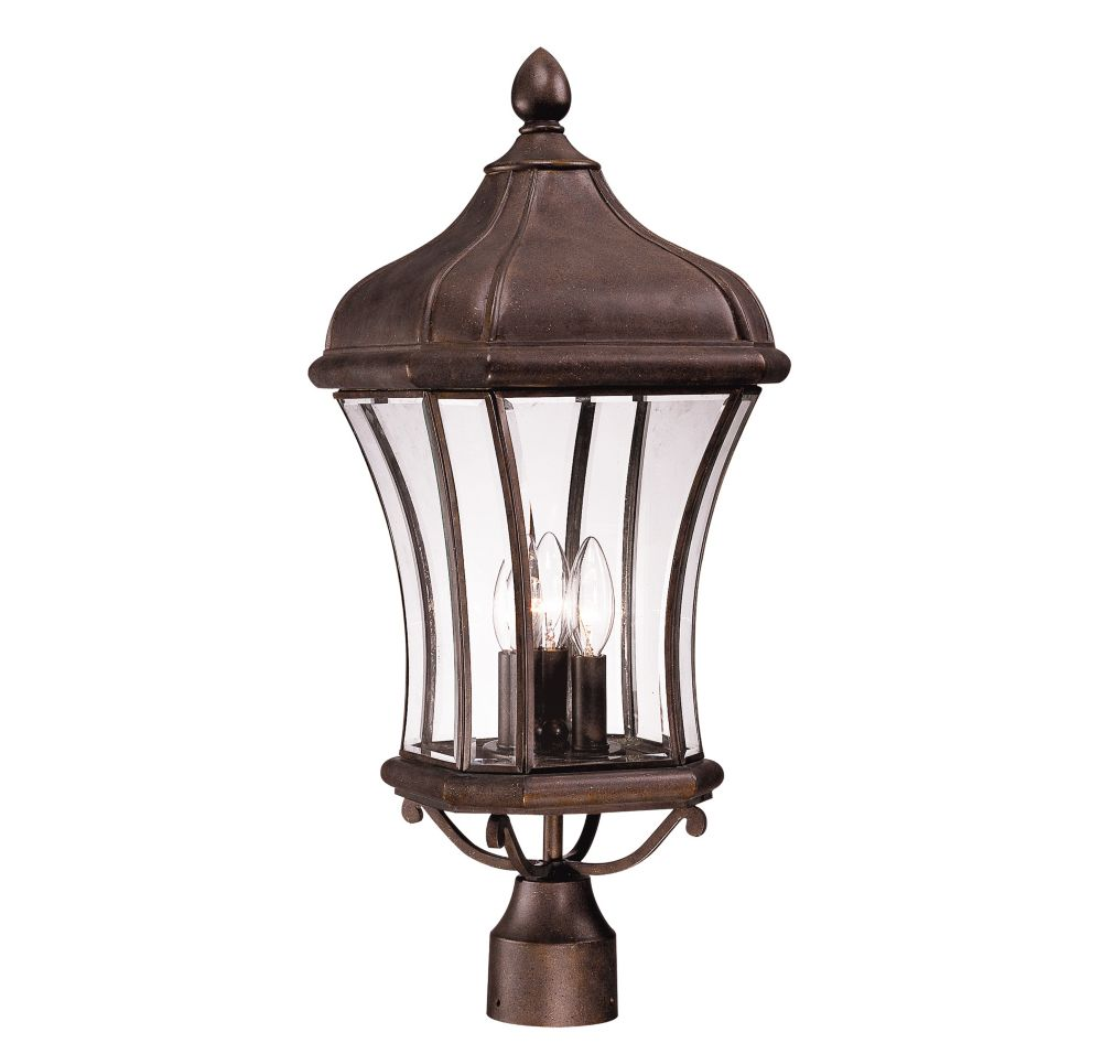 Satin 3 Light Bronze Incandescent Outdoor Post Lantern With Clear Glass