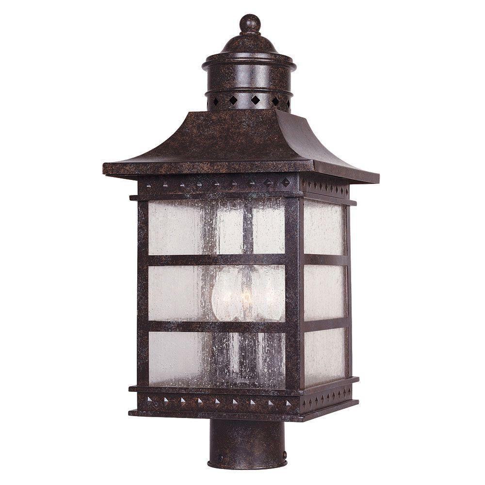 Satin 3 Light Bronze Halogen Outdoor Post Lantern With White Glass