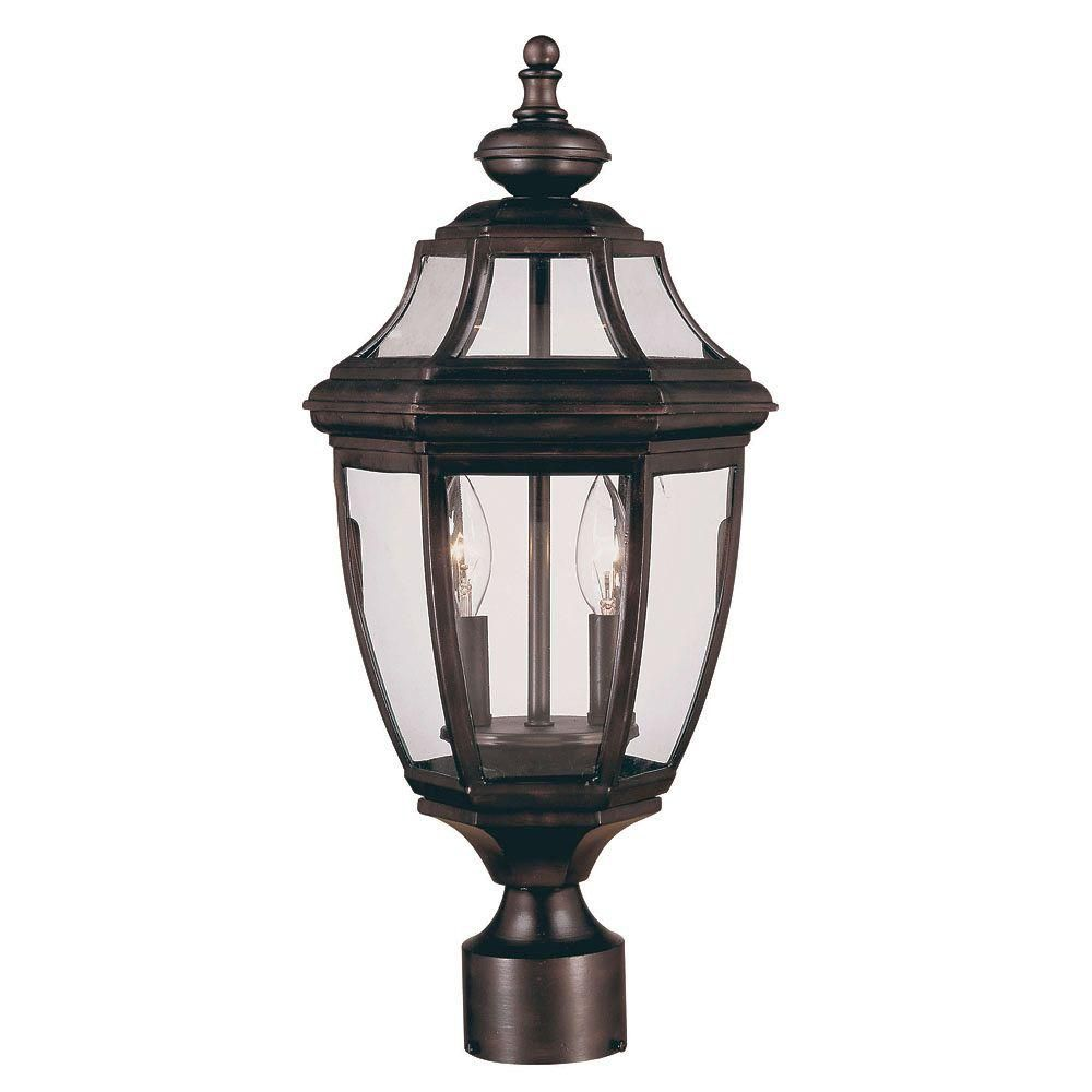 Satin 2-Light Bronze Outdoor Post Lantern with Clear Glass