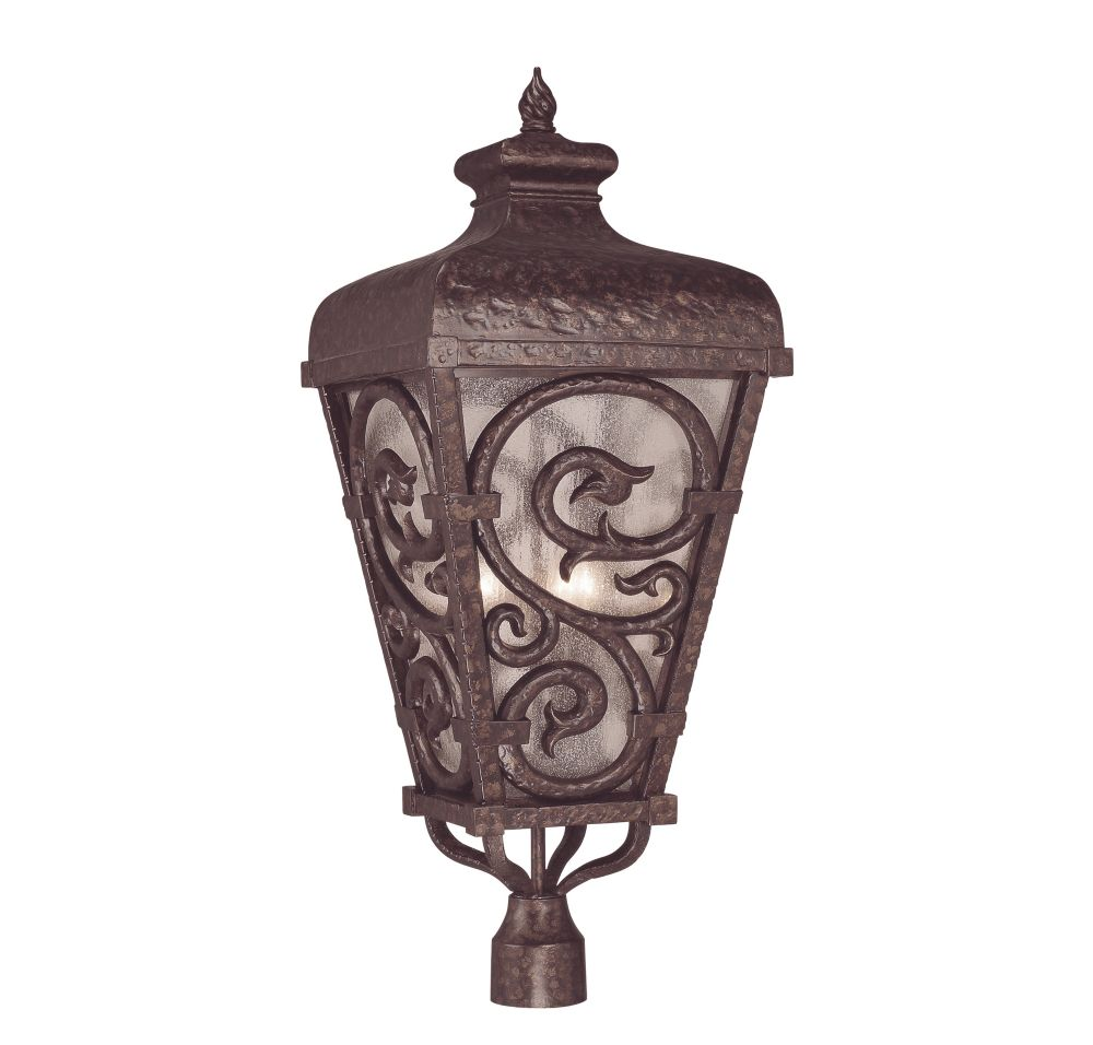 Satin 3-Light Bronze Outdoor Post Lantern with White Glass