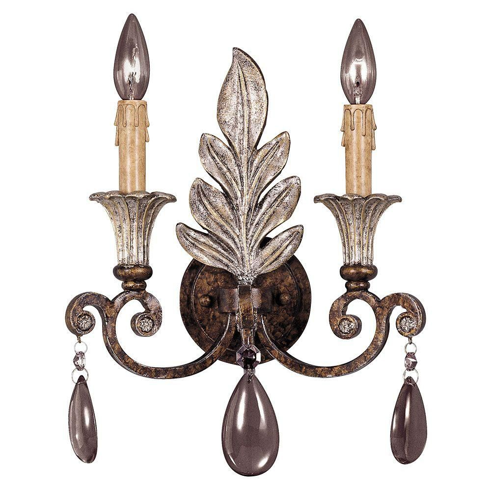 Satin 2 Light Bronze Incandescent Wall Sconce With Clear Glass