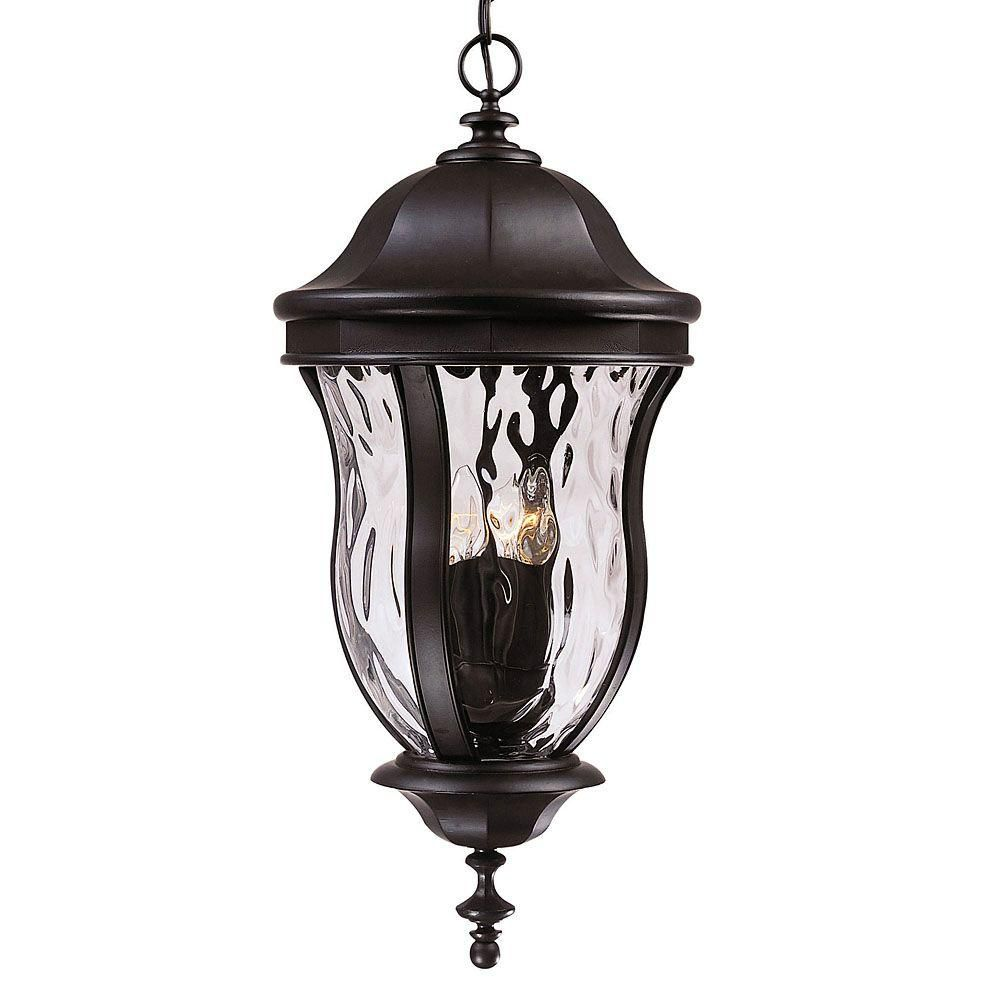 Satin 4 Light Black Halogen Outdoor Hanging Lantern With Clear Glass