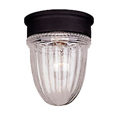 Satin 1 Light Black Incandescent Outdoor Flush Mount With Clear Glass