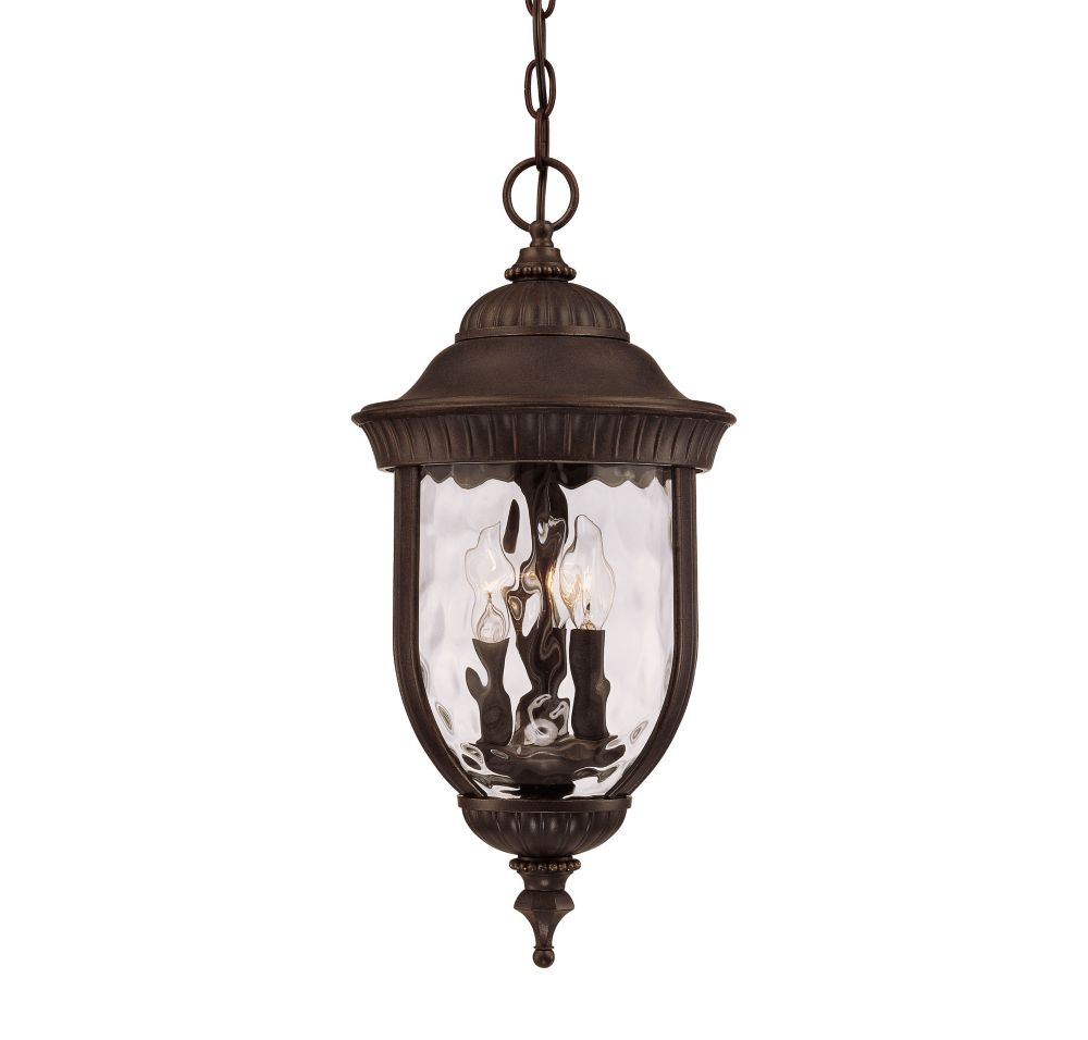 Satin 3 Light Bronze Halogen Outdoor Hanging Lantern With Clear Glass