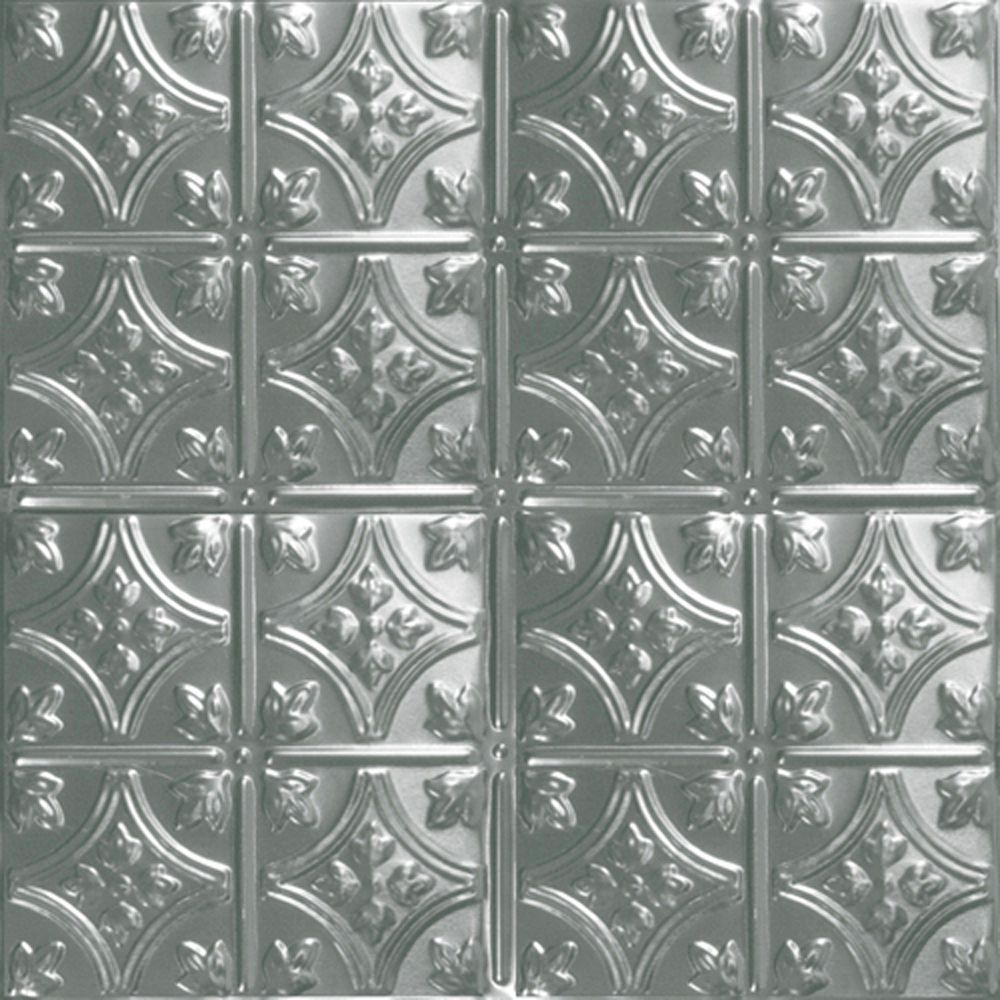 2 Feet x 2 Feet Steel Silver Lay-In Ceiling Tile Design Repeat Every 6 Inches ST209 2 in Canada