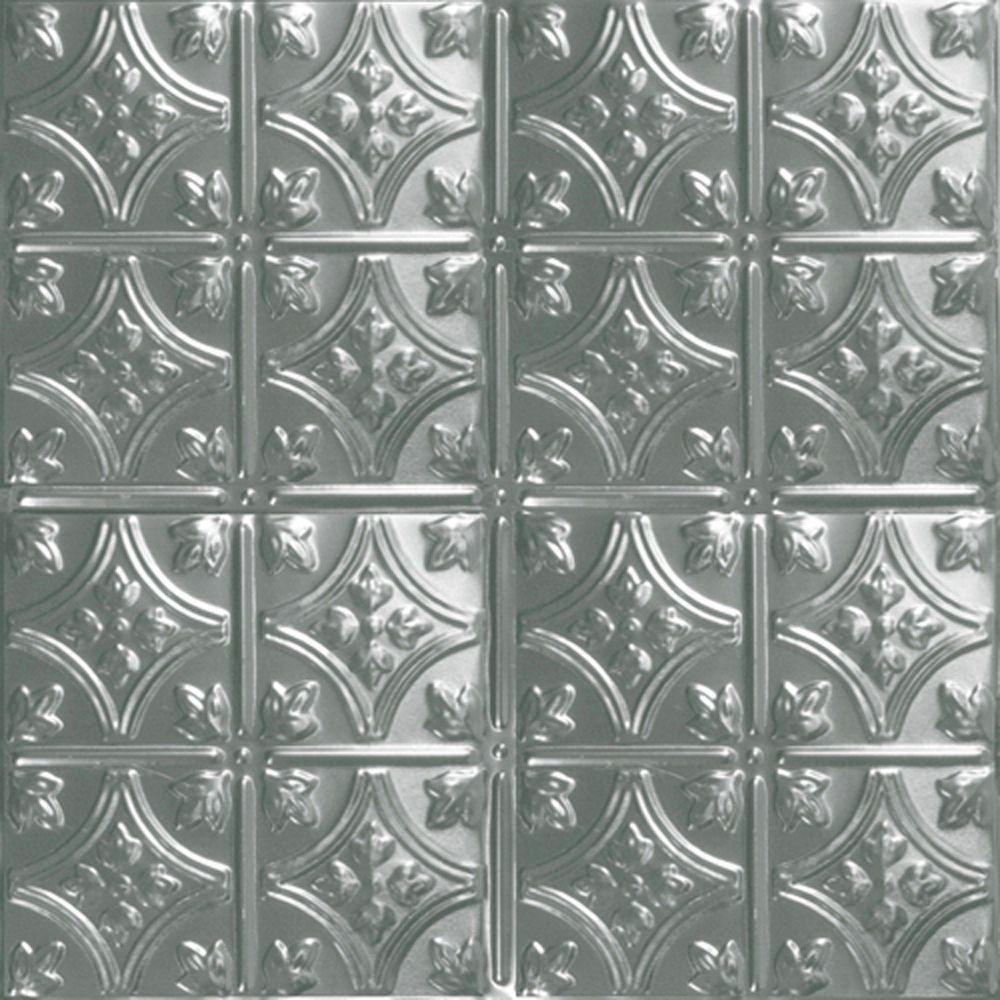 Carreau de plafond en acier argenté à motif répété aux 6 pouces et installation encastrée 2 pi x ...
