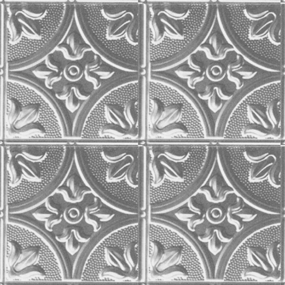 2 Feet x 2 Feet Steel Silver Lay-In Ceiling Tile Design Repeat Every 12 Inches