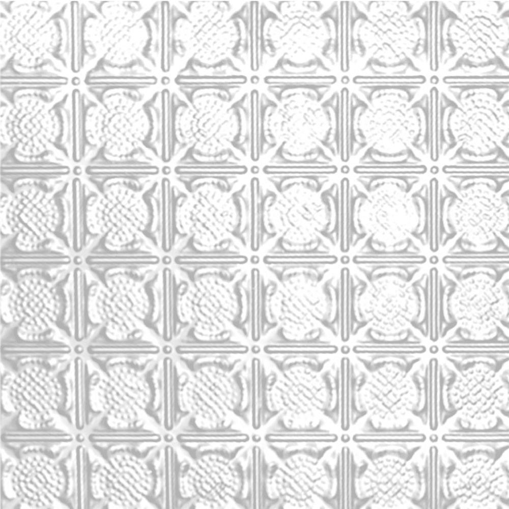 2 Feet x 4 Feet White Finish Steel Nail-Up Ceiling Tile Design Repeat Every 3 Inches