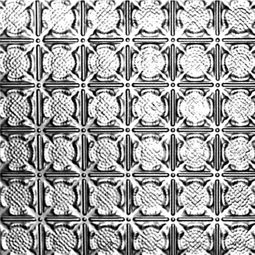 Carreau de plafond en acier argenté à motif répété aux 3 pouces et installation encastrée 2 pi x ...
