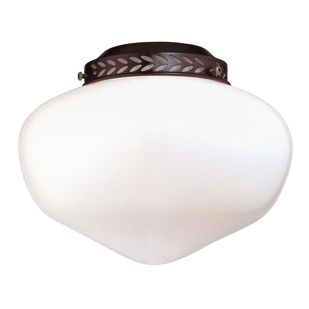 Satin 1-Light Bronze Fan Light Kit with White Glass