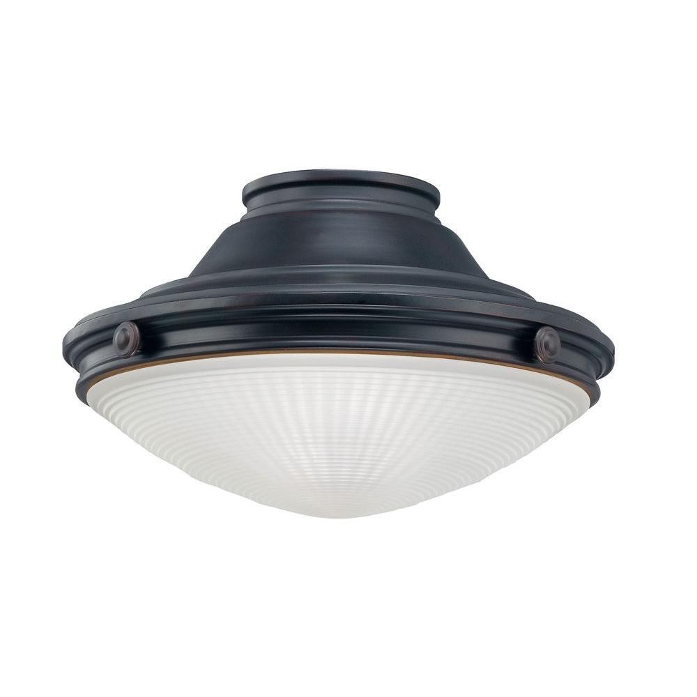 Satin 1 Light Bronze Fluorescent Fan Light Kit With White Glass