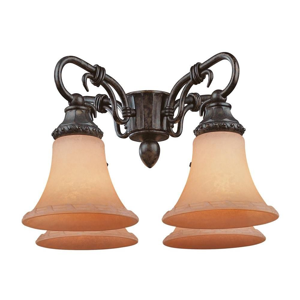 Satin 4-Light Bronze Fan Light Kit with White Glass