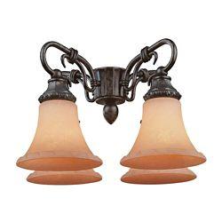 Illumine Satin 4-Light Bronze Fan Light Kit with White Glass