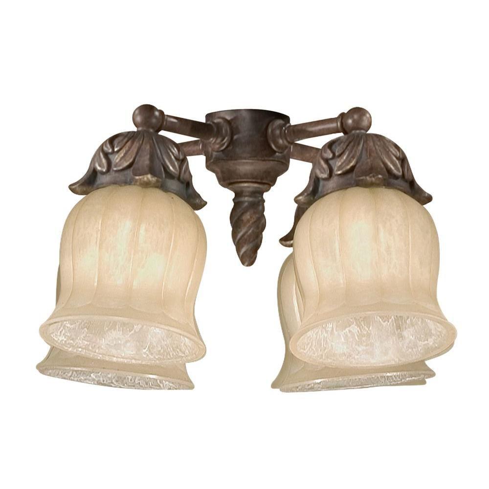 Satin 4 Light Gold Halogen Fan Light Kit With White Glass