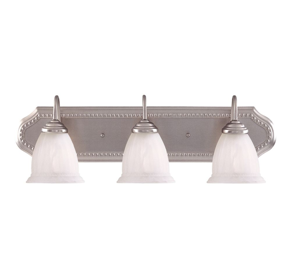 Satin 3 Light Nickel Incandescent Bath Bar With White Glass
