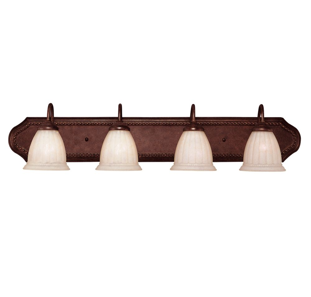Satin 4-Light Bronze Bath Bar with White Glass