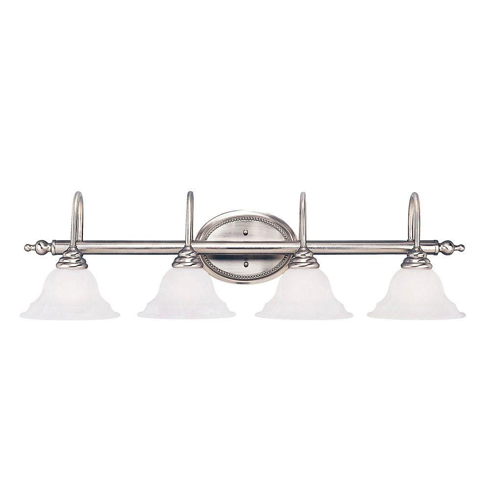 Satin 4-Light Nickel Bath Bar with White Glass