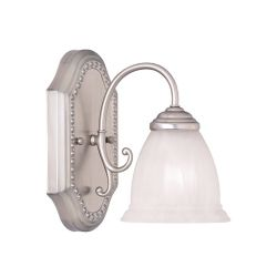 Illumine Satin 1-Light Nickel Bath Bar with White Glass