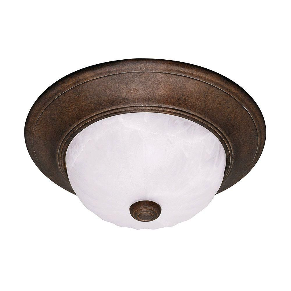 Satin 2 Light Bronze Halogen Flush Mount With MultiColour Glass