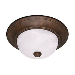 Illumine Satin 2 Light Bronze Halogen Flush Mount With MultiColour Glass