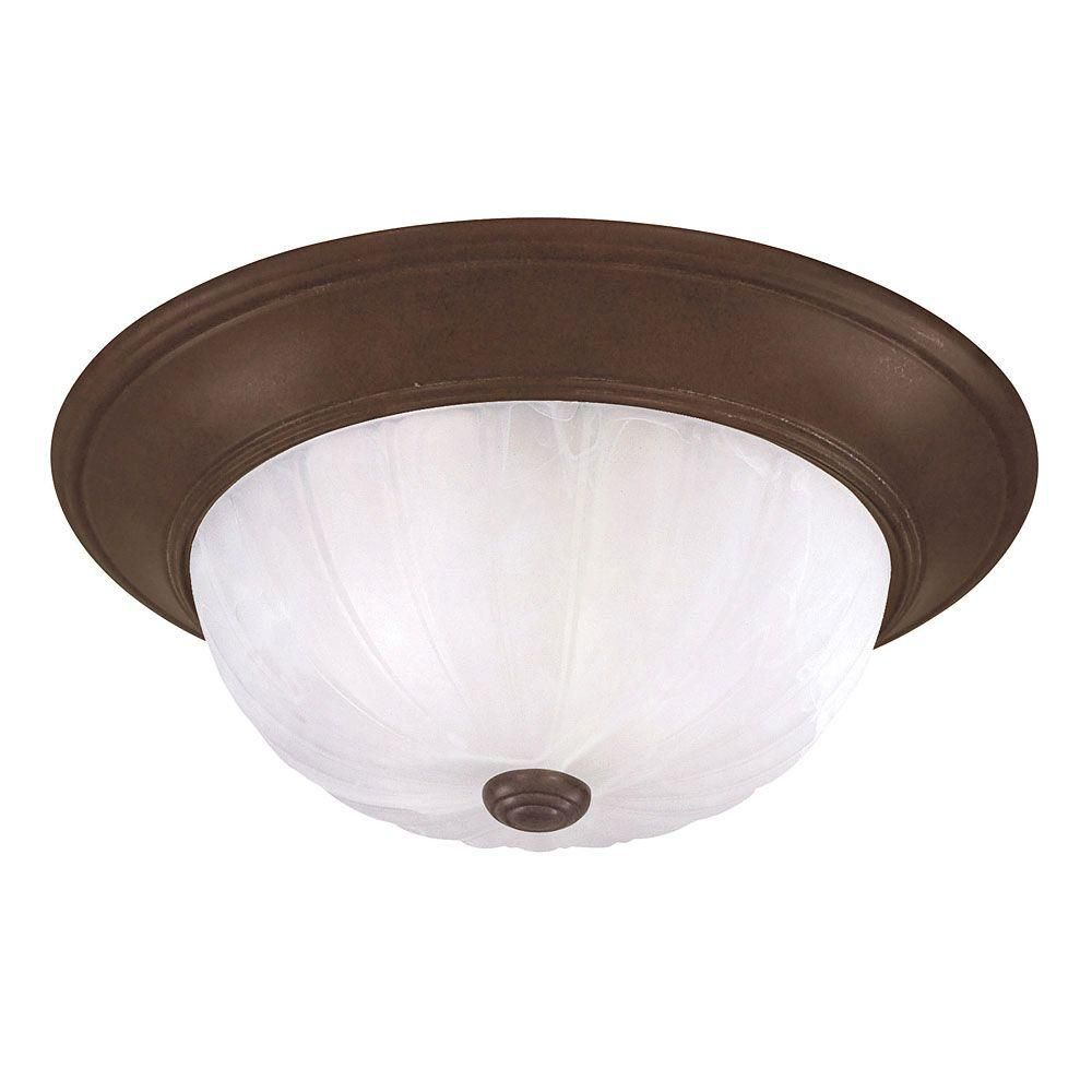 Satin 2-Light Bronze Flush Mount with Multicolor Glass