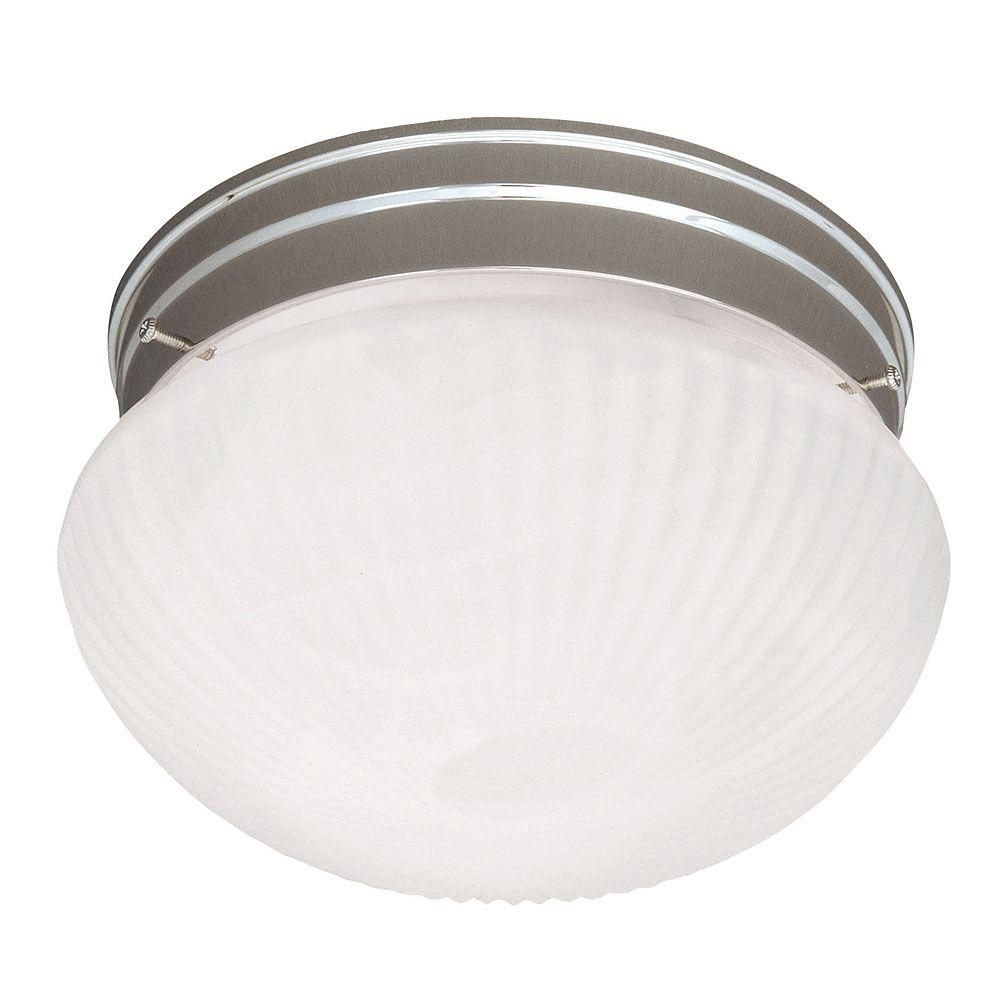Satin 2-Light Nickel Flush Mount with Multicolor Glass
