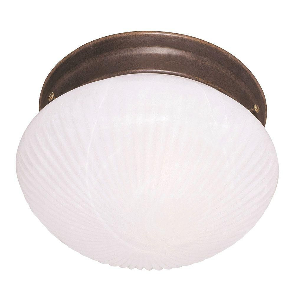 Satin 2 Light Bronze Incandescent Flush Mount With White Glass