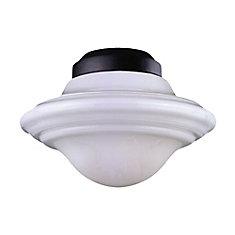 Satin 1 Light Black Incandescent Fan Light Kit With White Glass