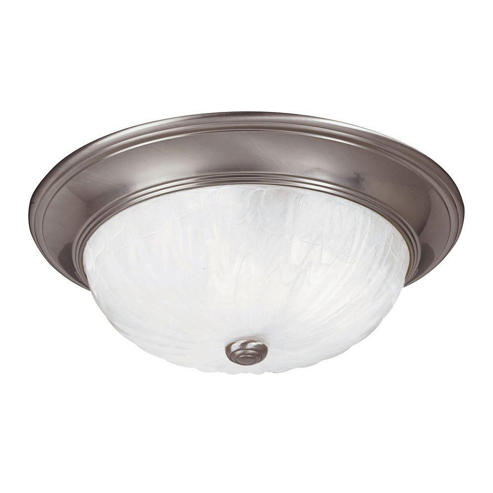 Illumine Satin 3-Light Nickel Flush Mount with Multicolor Glass