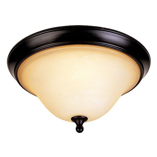 Illumine Satin 2-Light Bronze Flush Mount with White Glass