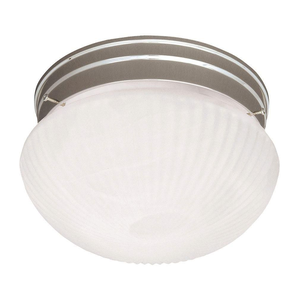 Satin 1 Light Nickel Incandescent Flush Mount With White Glass