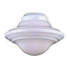Satin 1 Light White Incandescent Fan Light Kit With White Glass